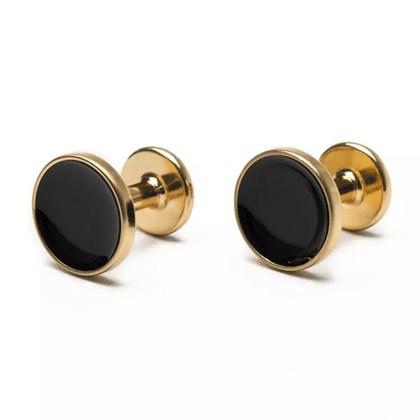 Abotoadura Key Design Round Ouro