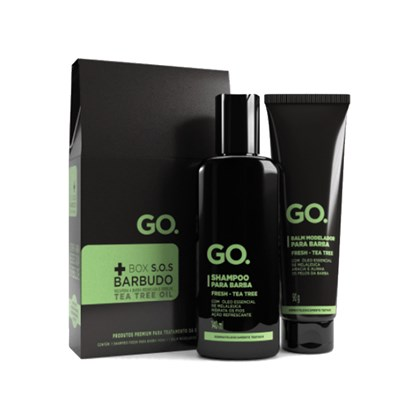 Box SOS Barbudo - Shampoo e Balm Modelador para Barba Tea Tree GO