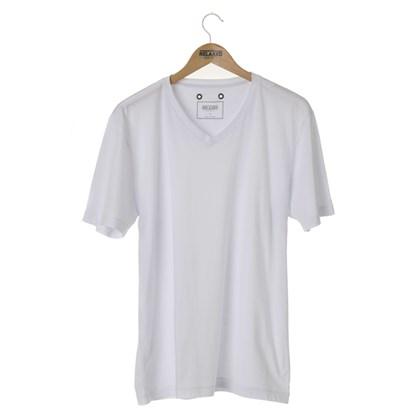 Camiseta Básica Gola V Relaxed Shorts Branca