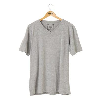 Camiseta Básica Gola V Relaxed Shorts Cinza