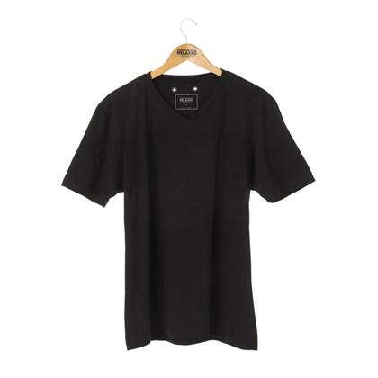 Camiseta Básica Gola V Relaxed Shorts Preta