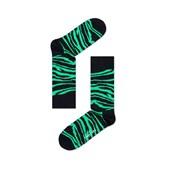 Meia Happy Socks Zebra Preto e Verde - ZE01-905