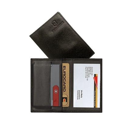 Porta Cartões Swisscard em Couro Preto Victorinox